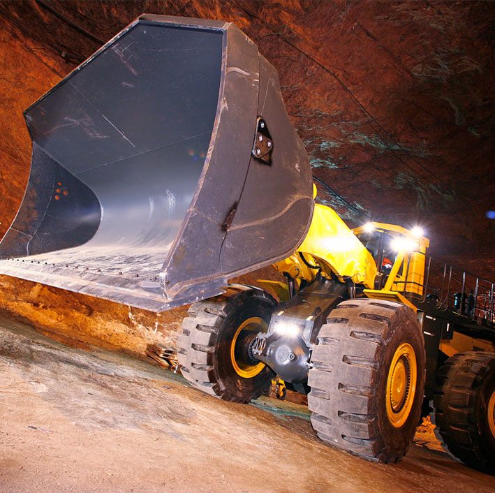Front Loader in a Rock Salt Mine